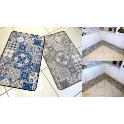 Tappeto disegno moderno maiolica blu o grigio tortora cucina stile mediterraneo