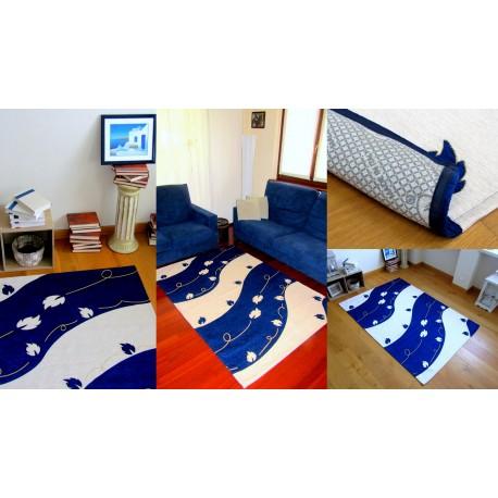 Tappeto Blu Moderno  Soggiorno  Onde e Foglie lavabile cotone made in italy