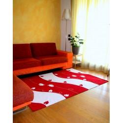 Tappeto Rosso moderno disegno  Onda foglie soggiorno design astratto